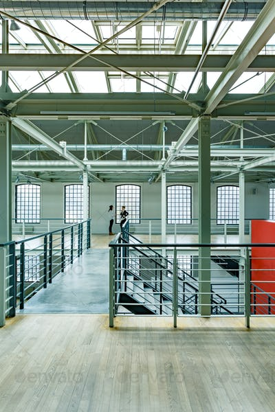 Warehouse interior with stairs
