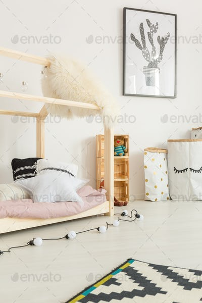 White child room with bed