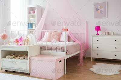 Pink and white princess bedroom