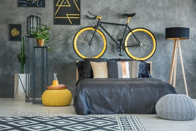 Functional room with bicycle