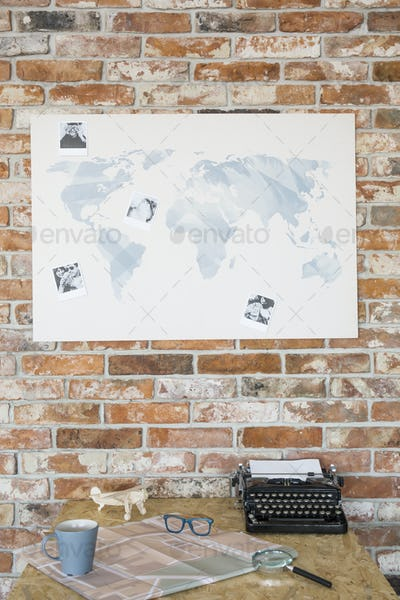 Map on a brick wall