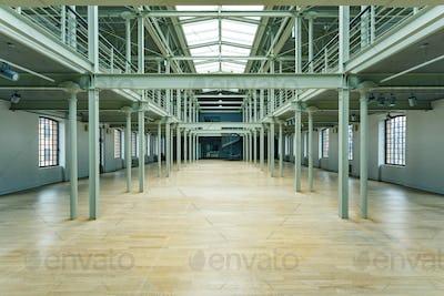 Empty storage depot with windows