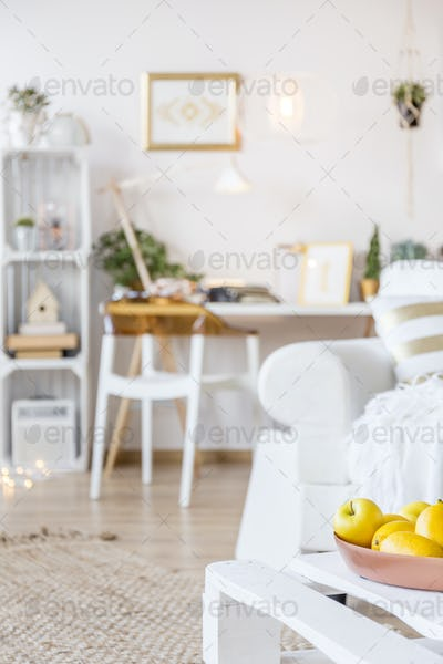 Coffee table with fruits