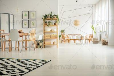 White open plan home interior