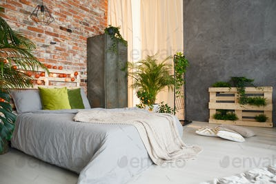 Bedroom decorated with plants