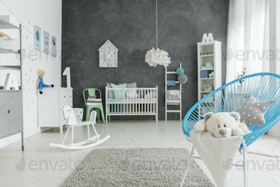 Child room with blue chair