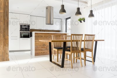 New white kitchen with table