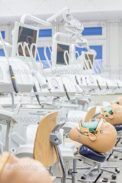 Modern exercise room with mannequins