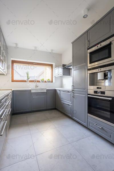 Modern kitchen with grey furniture