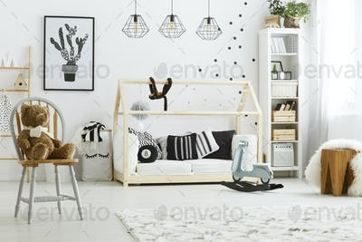 Kid bedroom with house bed