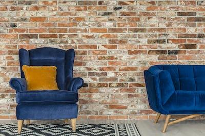 Mustard pillow on blue armchair