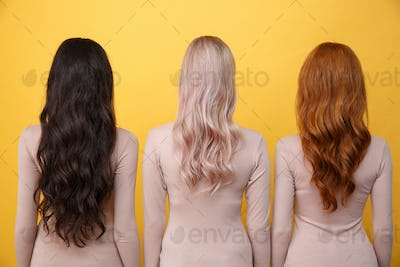 Back view image of young three ladies