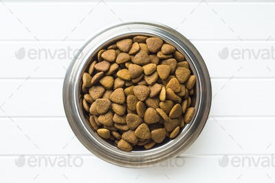 Dry kibble dog food in bowl.