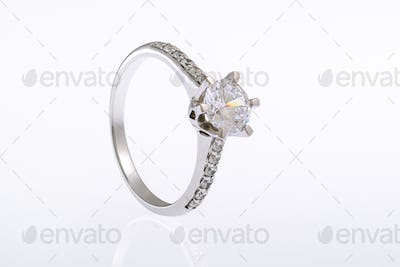 White Gold Rings with Diamonds on White Background