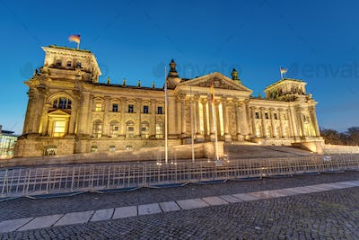 The german Reichstag in Berlin at dawn