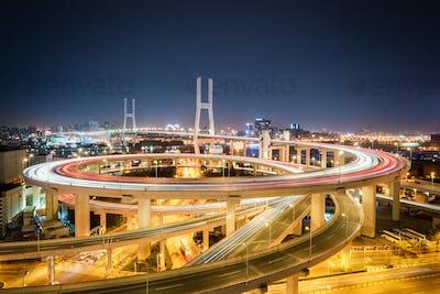 shanghai nanpu bridge at night