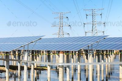 solar power plant under the sunny sky