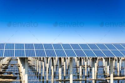 solar energy with blue sky