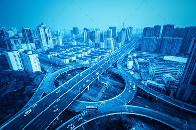 city overpass in shanghai with blue tone