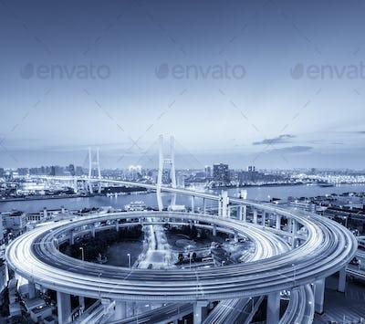 shanghai nanpu bridge in nightfall