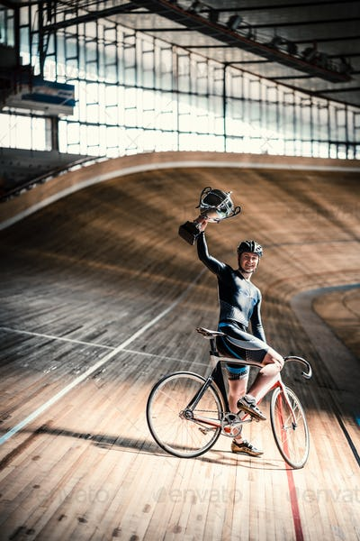 Athlete on velodrome