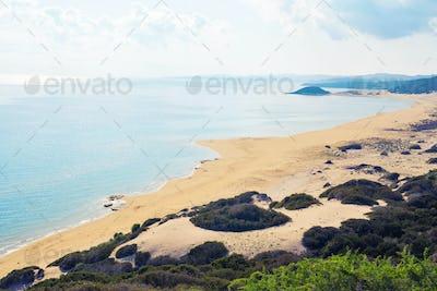 top view of Turtle beach Karpaz, North Cyprus