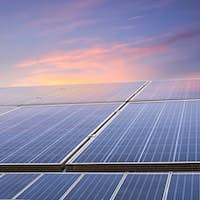 solar energy with sunset glow