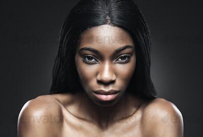 Black beautiful woman with perfect skin
