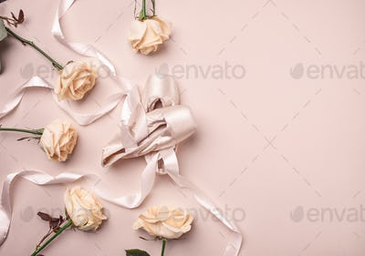 Vintage still Life with roses and Ballet Shoes