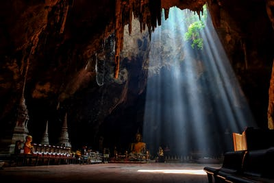 Amazing light in Khao Luang Cave in Phetchaburi Province,Thailan
