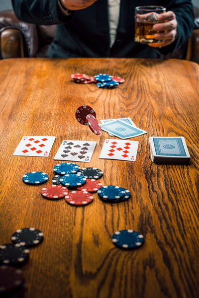The chips for gamblings, drink and playing cards