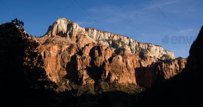 Panoramic View Late Afternoon High Mountains Zion National Park