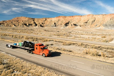 Over The Road Long Haul 18 Wheeler Big Rig Truck Flatbed