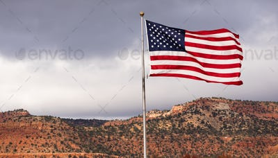 Wind Waving Bright Patriotic American Flag Stars and Stripes