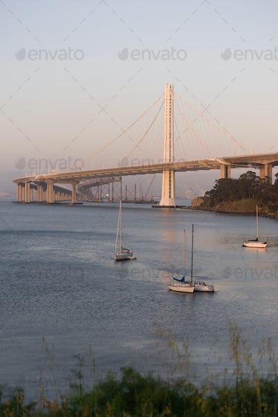 Bay Bridge San Francisco Treasure Island California Harbor Sailboats