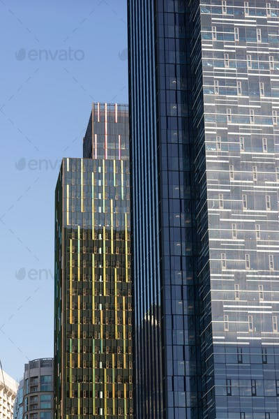 Glass Metal Buildings Architecture Late Afternoon Seattle