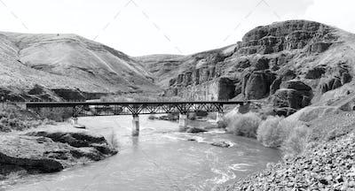 Deep Gorge Deschutes River Railroad Bridge Wild Scenic Corridor