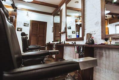 Vintage chairs in barbershop