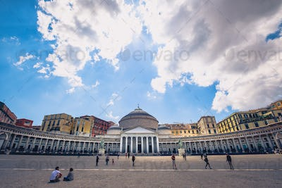 NAPLES, ITALY - 29 APRIL 2017: View of Piazza Plebiscito during the day