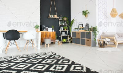 Black and white home interior