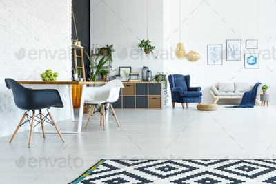 Apartment with wood table