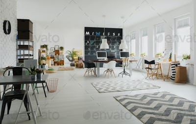 Black and white creative workspace