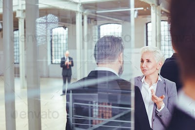 Businesswoman talking with colleague