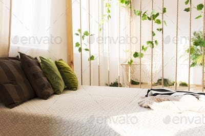 Comfortable double bed and pillows