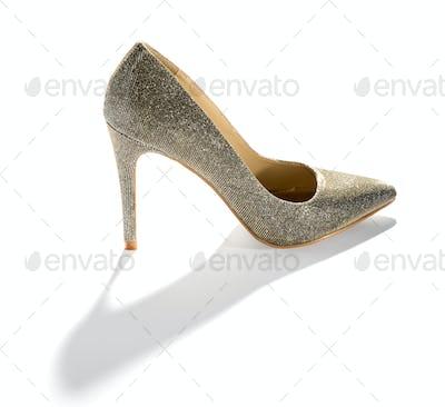 Classic ladies stiletto court shoe on white