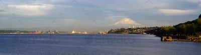 Commencement Bay Panoramic Puget Sound Tacoma Washington Mout Rainier