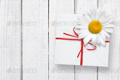 Gift box and chamomile on white wooden background