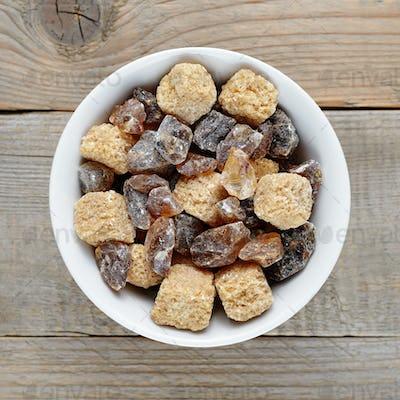 Brown sugar in bowl close-up