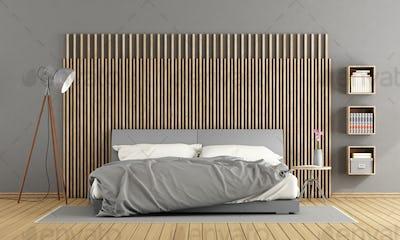 Gray master bedroom