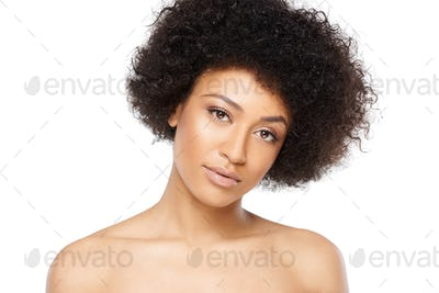 Beautiful serious young African American woman